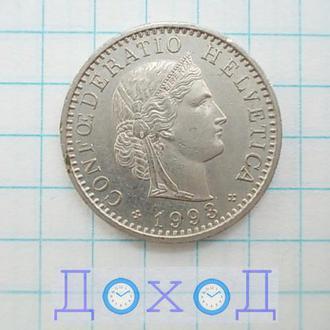 Монета Швейцария 20 раппенов 1993 немагнит