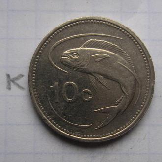 МАЛЬТА 10 центов 1998 г. (РЫБА).