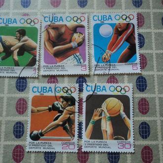 Куба 1984г. Олимпиада в Лос-Анджелесе. США. Серия из 5 марок.