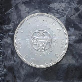 1 Доллар 1964 Квебек,(13) Канада Запайка