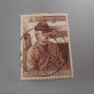 марка Италия 1958 искусство личности люди 50 лет со дня смерти Фаттори гаш №2749