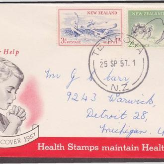 Новая Зеландия 1957 ДЕТИ ЗДОРОВЬЕ АКТИВНЫЙ ОТДЫХ КУПАНИЕ РЕКА ЛОДКА ЗДРАВООХРАНЕНИЕ КПД Mi.371-372