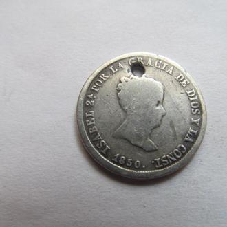 Испания  2  реала   1850  год