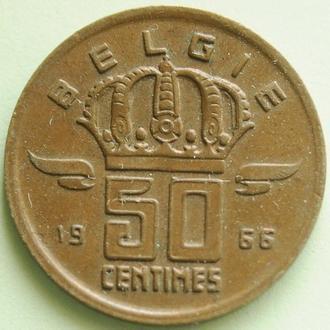 (А) Бельгия 50 сантимов, 1966 'BELGIE' редкий год