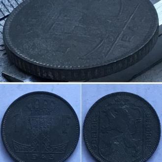 Бельгия 1 франк, 1943г.  Надпись - 'BELGIE - BELGIQUE' /Период  Король Леопольд III (1934 - 1947)