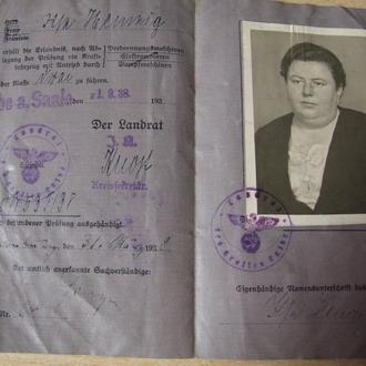 1938 водительские права Германия 3.Рейх удостоверение Führerschein
