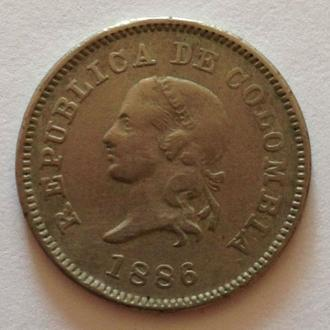 5 СЕНТАВО, 1886 г, КОЛУМБИЯ,РЕДКАЯ