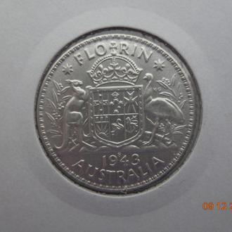 """Австралия 1 флорин 1943S George VI """"Arms"""" серебро отличное состояние очень редкая"""