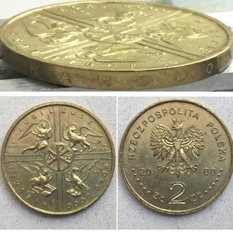 Польша 2 злотых, 2000г.  Великий Юбилей 2000 года. Юбилейная монета