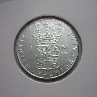 Швеция 1 крона 1963 серебро состояние