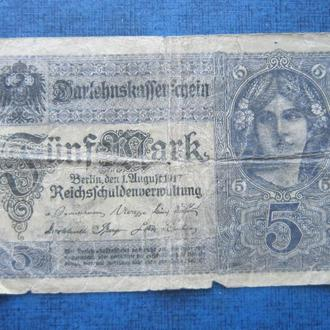 Банкнота 5 марок Германия 1917