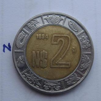 МЕКСИКА, 2 песо 1994 г. (биметалл).
