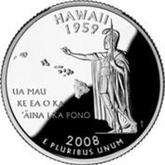 25 центов США Гавайи  2008 г.
