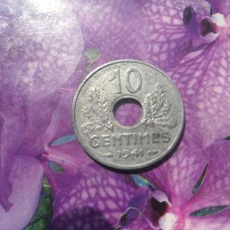 Франция 10центимос 1941г