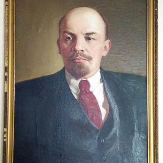 Старинная картина холст масло. портрет  В.И. Ленин. 90 х 67 см