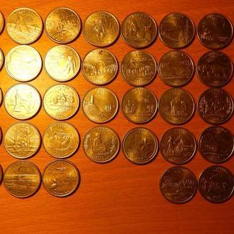 США 25 цент 1976, 1990, 1999 - 2008. Одним лотом 48 штук.