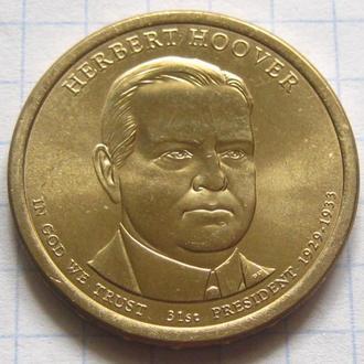 США_ 1 доллар 2014 года D  31-й президент  Герберт Кларк Гувер оригинал