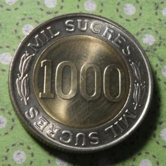 Эквадор 1997 год монета 1000 сукре биметалл !