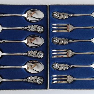 Ложечки и вилочки 6+6 шт. Rose #2 серебро 100 ANTIKO