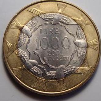 Сан Марино 1000 лир 2001 UNC! Редкая!