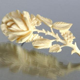 Антикварная брошь Роза слоновая кость 1950-е Holland