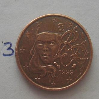 ФРАНЦИЯ, 1 евроцент 1999 года.