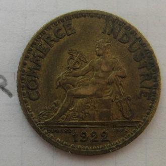 1 франк 1922 г. ФРАНЦИЯ.