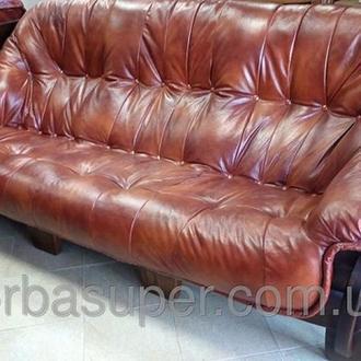 Комплект мягкой кожаной мебели 3+1+1. Диван тройка и два кресла. Новая кожа.