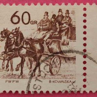 Марка Польши 1965 г. Лошади, экипажи. З купоном.