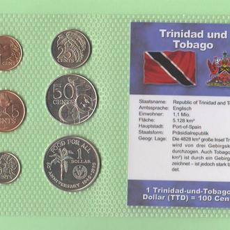Набор монет ТРИНИДАД и ТОБАГО пластик блистер запайка набір ТРИНІДАД і ТОБАГО