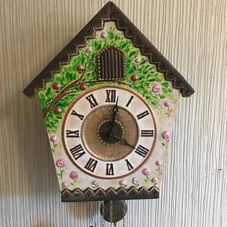 Часы ходики настенные механические с кукушкой с боем Авторская роспись