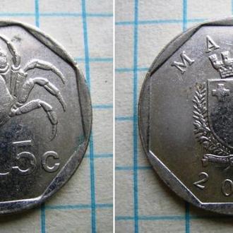 Мальта (2001) 5 центов. Мальтийский пресноводный краб. Фауна на монетах