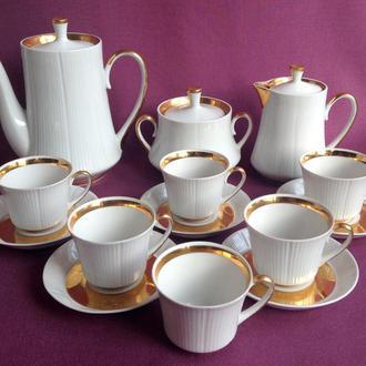 Сервиз кофейный  Благородный. Фарфор, позолота. 14 предметов.