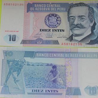 Перу, 10 инти 1987 UNC