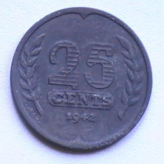 25 Центов 1942 г Нидерланды 25 Центів 1942 р Нідерланди