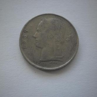 Найдешевші монети. Монета старого зразка. Бельгія. 1 франк. 1958 рік. Дуже ДЕШЕВО.