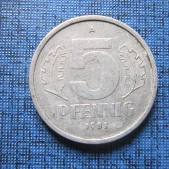 Монета 5 пфеннигов ГДР 1983 А