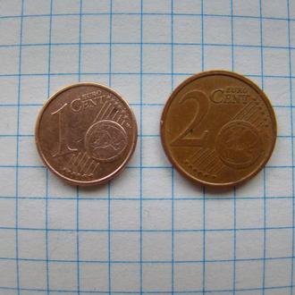 1 евроцент 2009 г. и 2 евроцента 2007 г.
