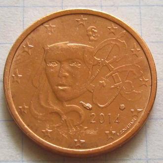 Франция_ 2 евро цента 2014 года  оригинал