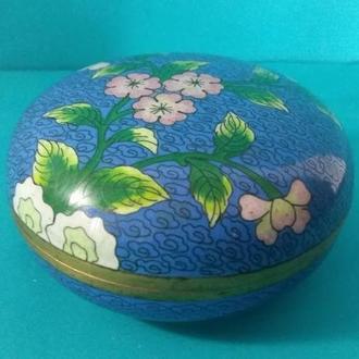 Шкатулка голубая «Цветы» _ клуазоне
