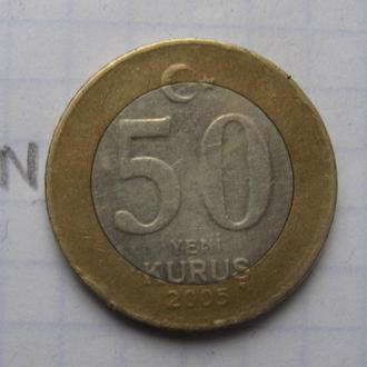 ТУРЦИЯ, 50 новых куруш 2005 г. (биметалл).
