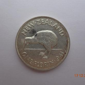 """Новая Зеландия 1 флорин 1941 George VI """"Kiwi bird"""" серебро СУПЕР состояние редкая"""