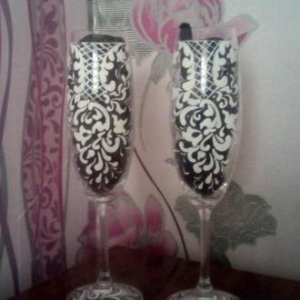 Свадебные бокалы ручной росписи