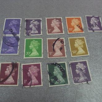 марки Великобритания королева стандарт лот 13 шт №157