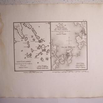 Карта :  Киклады и остров Дилос, Греция, Франция, 1824 год