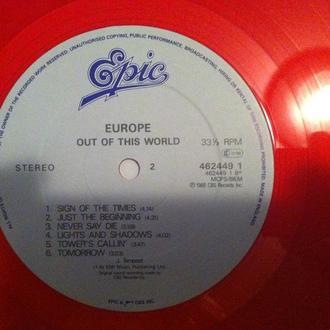 EUROPE  - OUT OF THIS WORLD английская пластинка шведской мелодик метал группы!