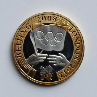 Великобритания 2 фунта 2008 г., PROOF, 'Церемония передачи Олимпийских игр'