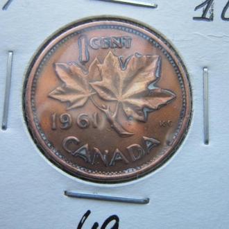 монета 1 цент Канада 1961