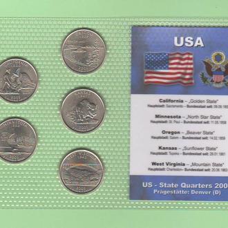 Набор квотер ов США 2005 D - пластик блистер запайка