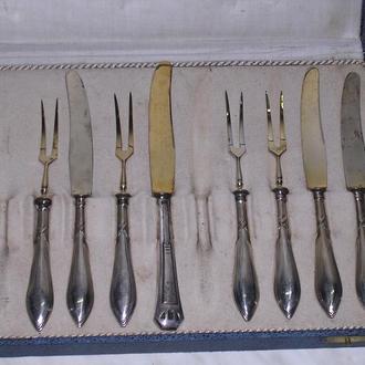 старин.вилка  и нож для десерта-покрытие серебро-золото